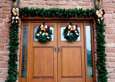 Door with christmas decorations