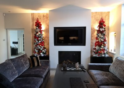 Cookham House with 2 bespoke min trees decorated in Red and Silv