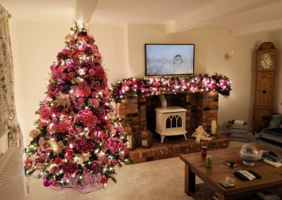 Floral Christmas Tree and Garland at House in West Berkshire
