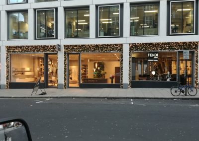 Illuminated Garland highlights this shop front in Central London
